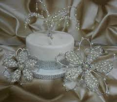 Wedding Cake Toppers Uk Crystals Pearls Set Of 3 Decorations