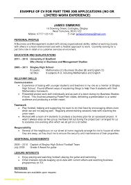 Resume Sample For Part Time Job Of College Student Best First Time