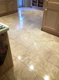 Travertine For Kitchen Floor Restoring Travertine Kitchen Tiles In East Byfleet Tile Cleaners