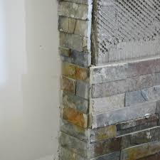 Slate Wall Tiles Kitchen Building Our Fireplace Installing The Slate Split Face Tile Our