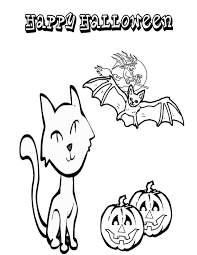 Small Picture Black Cat With Bat Coloring Page Halloween Coloring Coloring Pages
