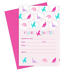 Girls Dinosaur Birthday Party Invitations With Pink Envelopes 15 Pack Kids Birthday Baby Shower Fill In Invites