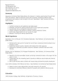 Real Estate Resumes 8 Resume Templates Commercial Broker