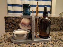 imagedesigned and printed a wet shaving stand for straight razor brush soap