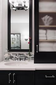 black bath vanity cabinets with frosted glass doors