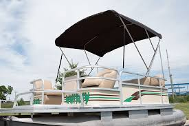 completed 3 bow bimini top on a pontoon boat