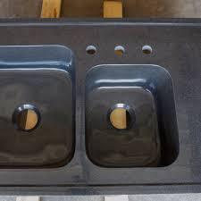 drop in kitchen sink. Custom Double Basin Drop-in Kitchen Sink, Black Granite Drop In Sink