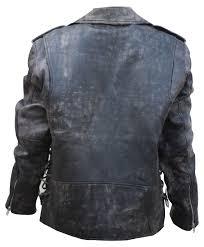 men s retro black motorcycle real sheepskin antique leather cafe racer jacket back