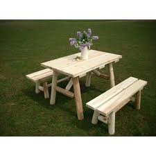 wood for picnic tables white cedar log picnic table with detached bench childrens wood picnic table