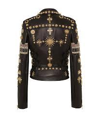 golden studded leather jacket