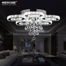 modern led chandeliers light stainless steel crystal lamp for living bedroom diamond ring led res chrome chandelier lighting