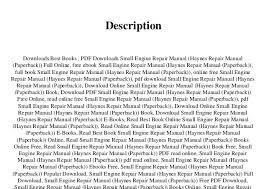 Downloadable Small Engine Repair Manuals