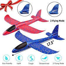 2 pack airplane toy 17 5 large throwing foam plane dual flight mode