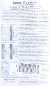 Fat Calliper Chart Genuine Accu Measure Fitness 3000 Body Fat Calliper Monitor Tester Measure Chart Bulk Packaged