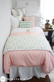 Peach & Green Cactus Designer Teen Girl Bedding Set