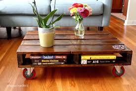Wood Pallet Coffee Table With Casters  Pallet FurniturePallet Coffee Table On Wheels