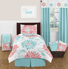 Emma Turquoise and Coral Bedding Set - Twin Girls 4 pc Lightweight ... & Emma Turquoise and Coral Bedding Set - Twin Girls 4 pc Lightweight Floral  Comforter Set Adamdwight.com