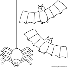 Small Picture Bats with spider Coloring Page Halloween