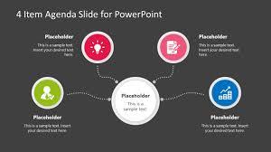 Slide Desigh 4 Item Agenda Slide Design For Powerpoint
