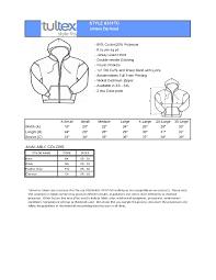 Tultex Size Chart Tultex 0331 Unisex Zipper Hood