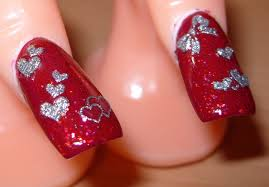 sharihearts: Red and Silver Valentine's Day Nail Art