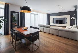 contemporary apartment furniture. Pleasant Oak Wood Flooring In Apartment Feat Modern Dining Furniture Units  Under Hanging Lamp Plus Comfortable Long Recliners Sofa With Tv Wall Mounted Contemporary Apartment Furniture