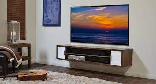 ... Floating Shelves Under Wall Mounted Tv Brown Wooden Wall Media Shelf  With Flat Tv Combined Beige ...