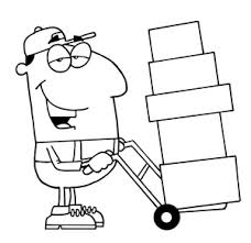 moving boxes clipart. work clipart image: moving man at with dolly boxes e