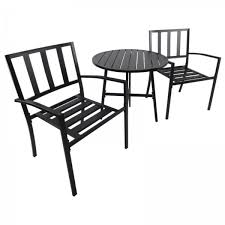 outsunny 3pcs outdoor bistro set table and chair set garden furniture black aosom com