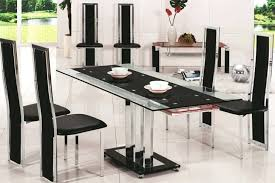 wonderful black glass dining table and 6 chairs room horizon round with 4 set t home