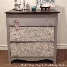 image stencils furniture painting. gray and white chalk paint painted dresser drawers with rockin roses damask stencils royal design image furniture painting a