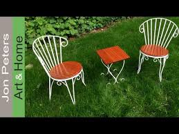 refinish make new seats for wrought iron chairs