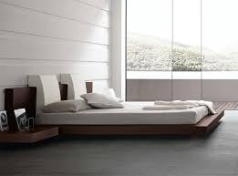 Modern Floating Bed With Wood Frame For White Bedroom Design Ideas