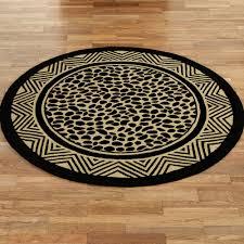 wild leopard round rug black gold 6 round
