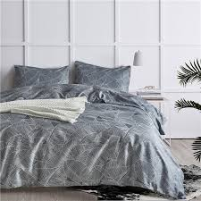 gray european leaf pattern polyester fiber bedding sets 2 bed linings duvet cover pillowcases cover set usa queen king size flannel duvet quilted duvet