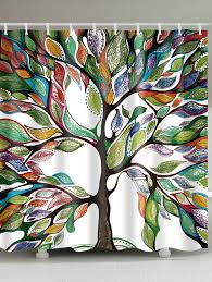waterproof fabric colorful tree of life shower curtain colorful