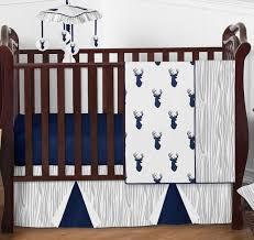 woodland deer baby bedding 4pc boys crib set by sweet jojo designs