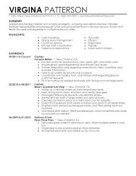 Resume Examples Cashier Position