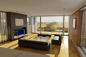 living room with black furniture. Sunny Living Room With Black Furniture And Light Wood Floor A