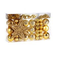 Weihnachtskugeln 66 Tlg Set Gold Christbaumschmuck Weihnachtsbaumkugeln Weihnachtsbaumschmuck Kunststoff Baumschmuck Weihnachtsdeko