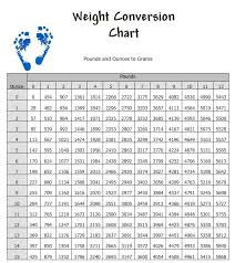 Chart For Converting Between Pounds And Grams Standard And