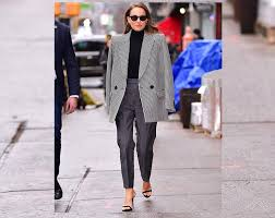you can start your 2019 off strong replicating this look worn by actress natalie portman a charcoal trouser and menswear inspired houndstooth jacket make