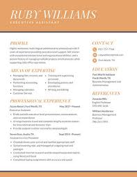 Resume For Executive Assistant Stunning Orange Professional Executive Assistant Resume Templates By Canva