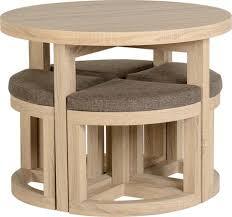 compact furniture. Cambourne Stowaway Dining Set In Sonoma Oak Effect Veneer/Brown Linen Fleck Compact Furniture
