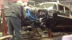 1956 Chevrolet Bel-Air 235 engine install - YouTube