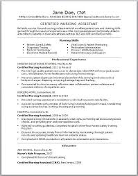 Certified Nursing Assistant Cna Resume Template By Jane Doe