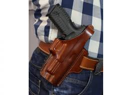 owb leather holster with thumb break