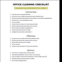 Office Housekeeping Checklist Rome Fontanacountryinn Com