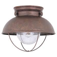 outdoor ceiling lights. Sea Gull Lighting Sebring 11.25 In. W. 1-Light Weathered Copper Outdoor Ceiling Lights L