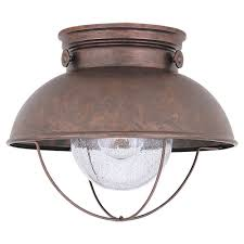 sea gull lighting sebring 11 25 in w 1 light weathered copper outdoor ceiling